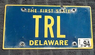 "Delaware Vanity License Plate "" Trl "" Tom Ted Tim Tina Tiffany Lewis Lincoln"