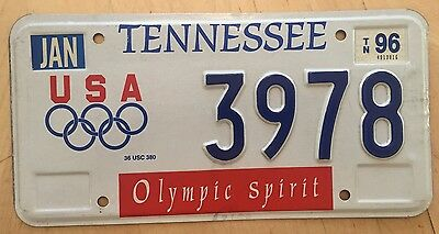 "1996 Tennessee Olympic Spirit Olympics Auto  License Plate "" 3978 "" Tn"