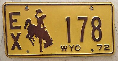 "1972 Wyoming Exempt Govt  License Plate "" Ex 178 "" Wy 72 Bucking Bronco"