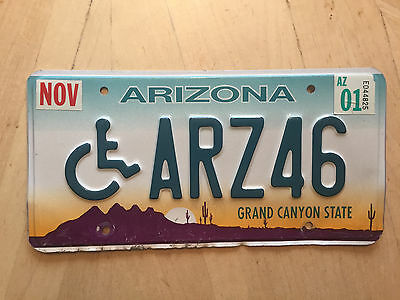 "Arizona Handicapped Auto License Plate "" Arz 46"" Az Wheelchair Ariz Abbreviation"