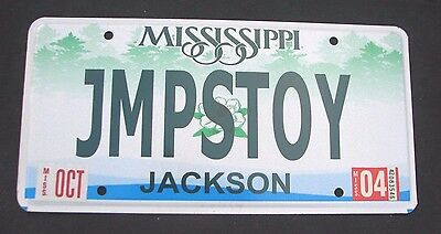 """MISSISSIPPI  VANITY License Plate """"JMPSTOY"""" JMPS TOY JUMP JUMPS TOYOTA"""