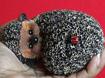 BRAMBLE & CLOVER Hedgehog Ladybug Back Figurine Brown Red Black Shelf Sitter