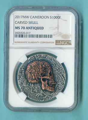 2017 Cameroon Carved Skull Ngc Ms-70 Mintage 666 Comp Pckg Inc