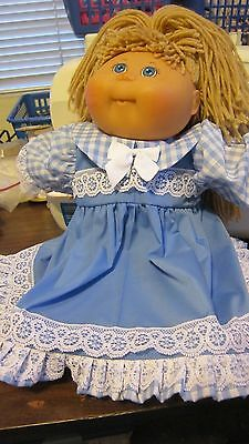 "Blue Gingham Dress/Bloomers fits Large 20"" Cabbage Patch Doll"