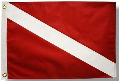 12x18 Red Diver Down Double Sided Boat Flag Nautical Banner Made in USA New
