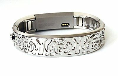 Best Replacement Silver Flowers Metal Bracelet For Fitbit Alta Fitness Tracker