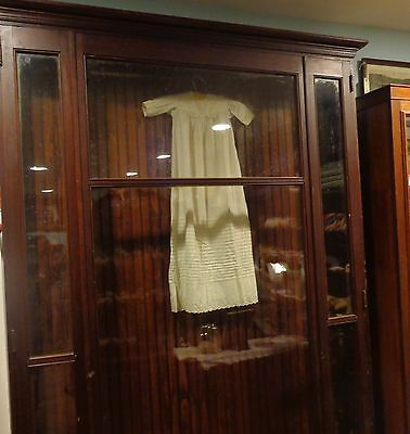 "Massive antique wall display cabinet with large glass doors 92"" x 60"""