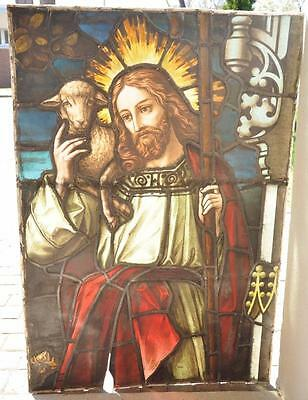Real Nice Antique German Stained Glass Window Of Jesus And The Lambs