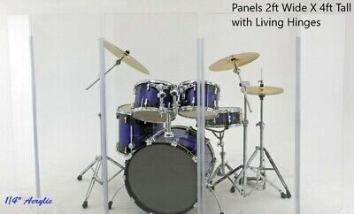 Drum Shield Drum Screen Acrylic Drum Shield 4ft Tall Five Panels DS3L