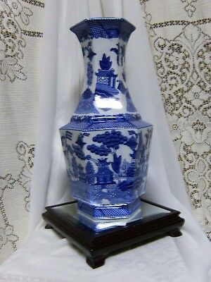 White & Blue Willow Large Flower Vase Oriental Chinese Japanese Pagoda Asian