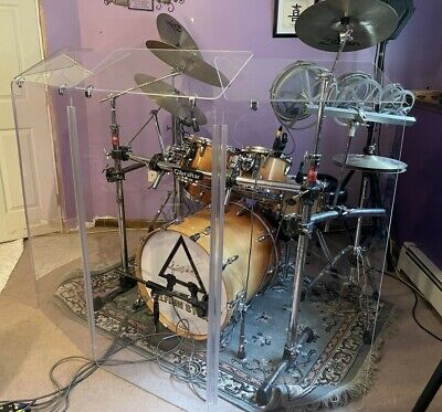 Acrylic Drum Shield 4 Panels 2ft X 4ft With Deflectors 2ft X 1ft DS2D L 5ft TALL
