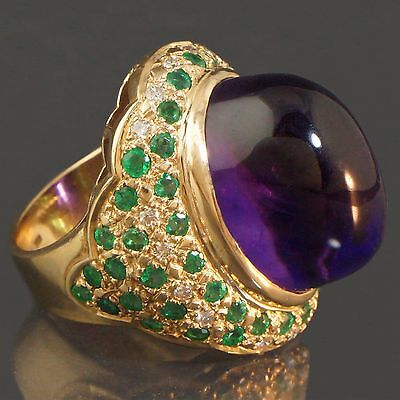 Colossal Solid 18K Yellow Gold, 25ct Amethyst, 1.0cttw Emerald & Diamond Ring