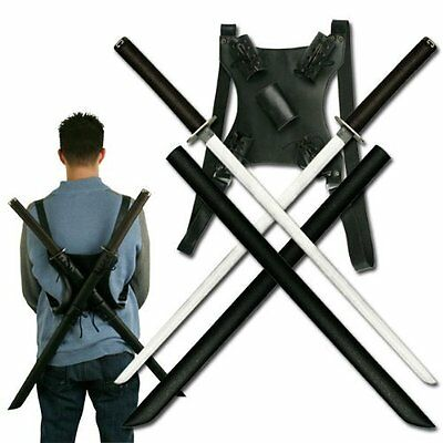 Ninja Swords with Back Carrying Scabbard Stainless Steel Blade Dual 39 Inch