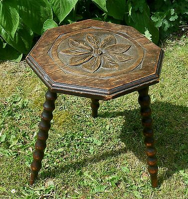 Antique Edwardian Folk Art Carved Oak Wood Three Legged Stool~Bobin Turned Legs
