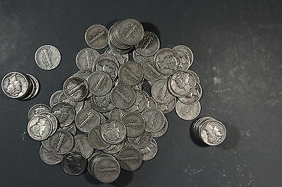 $3 FACE VALUE of MERCURY DIMES 90% SILVER (LOT OF 30 COINS)