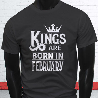 a22f3585 KINGS ARE BORN IN FEBRUARY BOY AQUARIUS PISCES Mens Charcoal T-Shirt ...