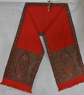 paisley scarf woven wool  shawl red 10 x 62 in  Civil War Era antique 1800