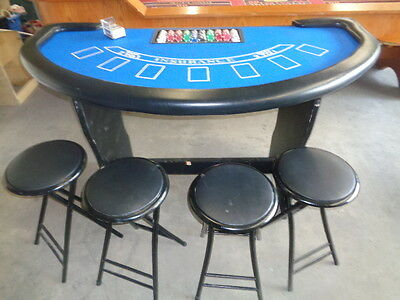 Casino Blackjack Table, Cards, Chips & Chairs