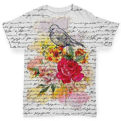 Book Print Bird And Flowers Baby Toddler Funny ALL-OVER PRINT Baby T-shirt