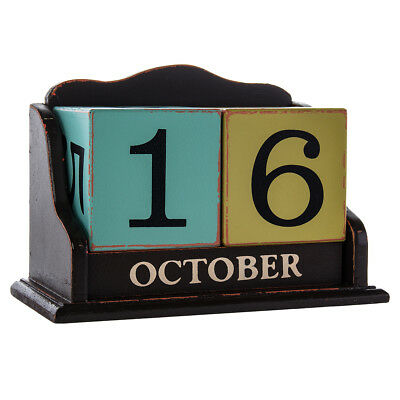 6pc Perpetual Calendar Wood Blocks Month Day Desk Home Office Shabby Chic Décor