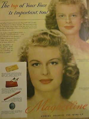 Maybelline, Makeup, 1940's, Full Page Vintage Print Ad