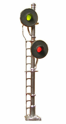 N Scale LED Block Signal 2-Head Offset Searchlight Brass Tomar N874
