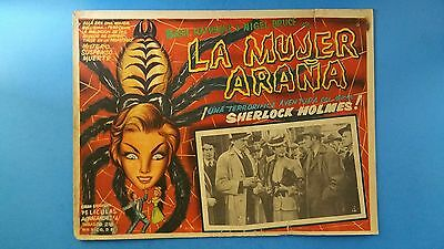 Rare Vintage Original SHERLOCK HOLMES THE SPIDER WOMAN(1944)Mexican Lobby Card