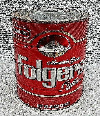 Old Empty 48 oz Folgers Classic 3 lb Mountain Grown Coffee Can Vintage FREE S/H