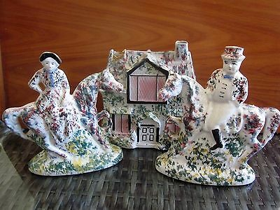 3 piece STAFFORDSHIRE style porcelain MANTLE SET - HOUSE, LADY & MAN on HORSES