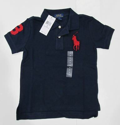 New tag NWT Boys Ralph Lauren Navy Blue Short Sleeve Polo Shirt 5 6 7 Big Pony