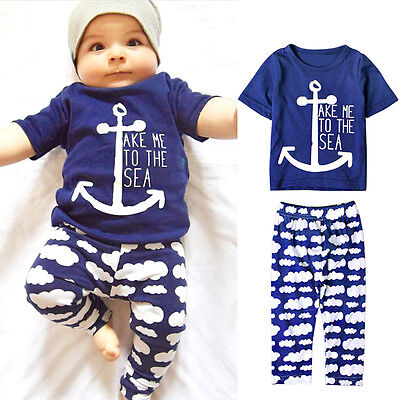 2pcs Newborn Toddler Infant Baby Boy Clothes T-shirt Tops+Pants Outfits Set New