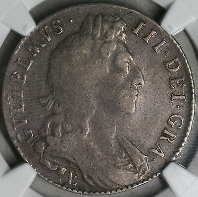 1697-E NGC F 15 Silver 1/2 Crown Exeter GREAT BRITAIN Coin POP 1/1 (16091117C)