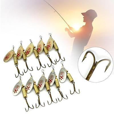 10x Fishing Lure Suit Crankbait Sequin Spoon Metal Bait Fish Hunting Hook 4# #4
