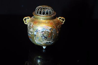 Antique 19Th Century Rare Imperial Satsuma Incense Burner With Silver Top