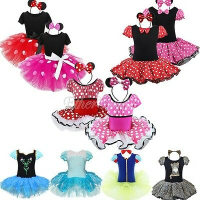 Toddler Girl Kids Cartoon Mouse Fancy Dress Up Costume Cosplay Tutu Skirt Outfit
