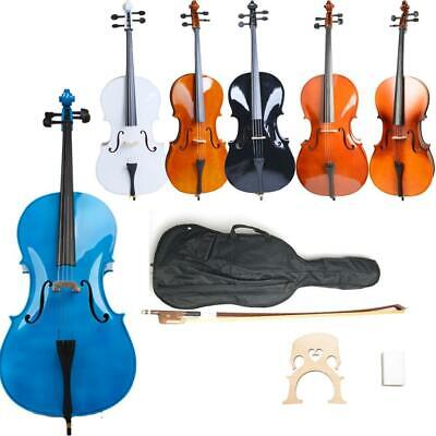 4/4 Size High Quality Professional Basswood Acoustic Cello +Bag+Bow+Rosin+Bridge