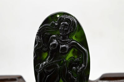 100% China's natural jade nephrite carving black jade pendant Mermaid @166
