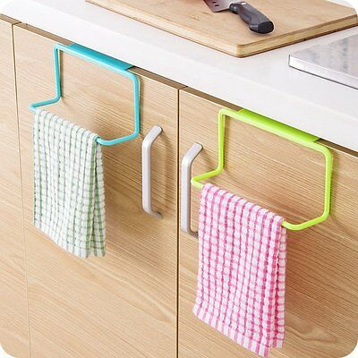 Over Cabinet Towel Rack Door Mount Bar Drawer Hanger Hold Hook Kitchen