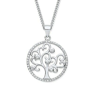 Beautiful Sterling Silver (925) Stone Set Tree Of Life Pendant & 18 inch Chain