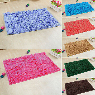 Soft Shaggy Non-slip Absorbent Door Bath Mat Bathroom Shower Rug Carpet Washable