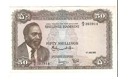 ☆ KENYA☆1967☆VERY SCARCE☆P-4b☆50 SHILLINGS☆NICE CONDITION☆LOOK AT PICTURES☆