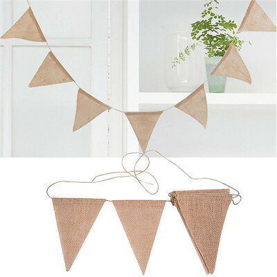 Linen Bunting Pennant Flag Banner Garland Wedding Party Christening Decoration