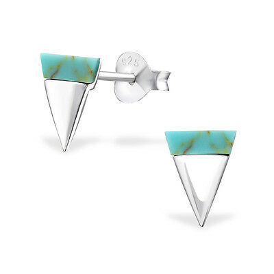 Quality 925 Sterling Silver Earrings - Turquoise Shell & Silver Triangle Studs
