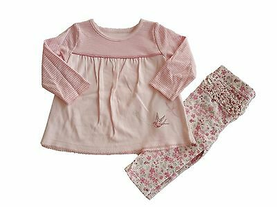 Baby Girls Outfit 2 Piece Set T Shirt Top And Legging NB-9/12 Ex M+S 100% Cotton