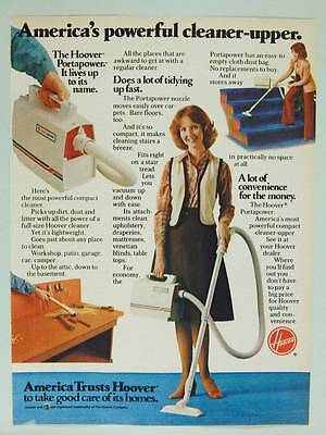 1978 Hoover Vacuum Cleaners Vintage Ad Page - Portapower - Pretty Lady Housewife