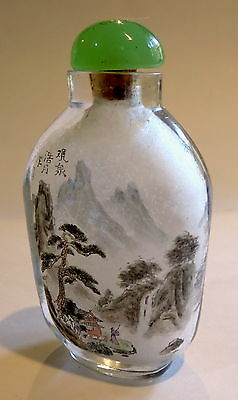 INTERIOR Painted SNUFF BOTTLE Antique Glass SIGNED