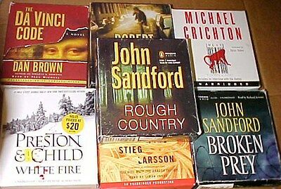Lot of 7 Unabridged Audiobooks CD's Michael Crichton John Sanford Robert Ludlum