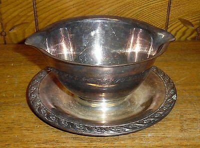 TARNISHED Wm Rogers Silverplate Gravy Boat - Spring Flower 2013 - WORN SCRATCHED