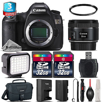 Canon EOS 5DS DSLR Camera + 50mm 1.8 STM + LED Light + Case + 64GB +2yr Warranty