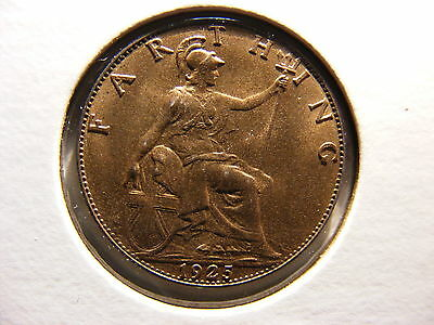 Great Britain Farthing, 1925, RED UNCIRCULATED